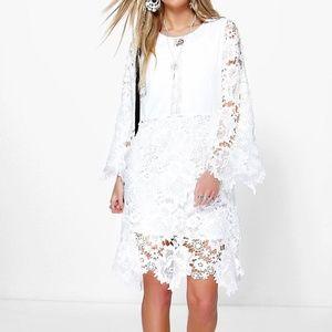 Boohoo White Ina Crochet Lace Kimono Sleeve Dress